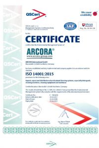 Certificate EN 14001