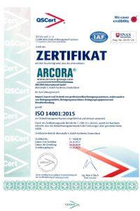Zertifikat 14001 DE
