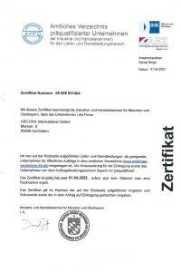 AVPQ Zertifikat