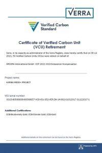VERRA Zertifikat
